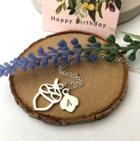 Acorn Necklace With Initial