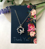 bird necklace with gift card