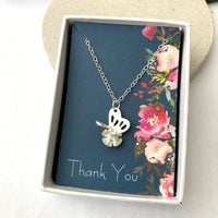 butterfly necklace with gift card