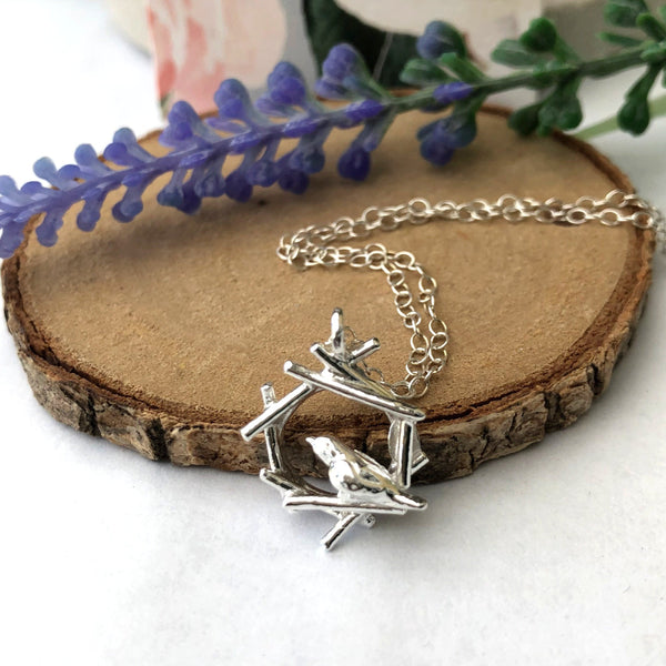 sterling silver mini robin necklace
