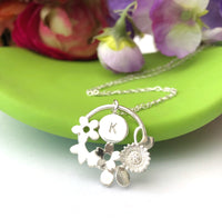 Flower Garland Necklace With Initial Tag - a ring a day