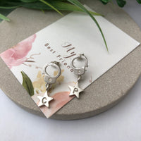 handcuff with initial star earrings