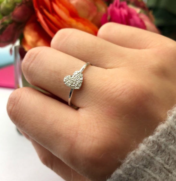 Sterling Silver Textured Heart Ring