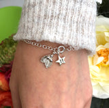 Small Holly Bracelet With Initial Star, Christmas Bracelet
