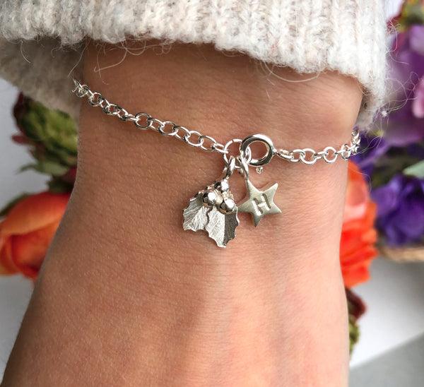 personalised holly bracelet