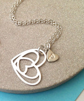 Sterling Silver Heart With Initial Necklace