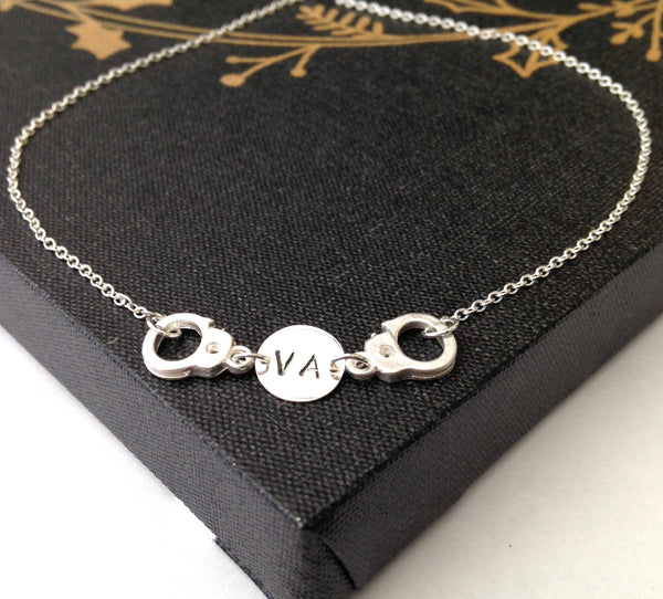 Partner In Crime Necklace, Handcuff With Initial Necklace