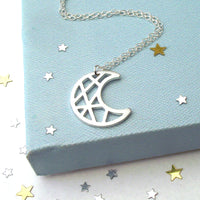 Geometric Crescent Moon Necklace