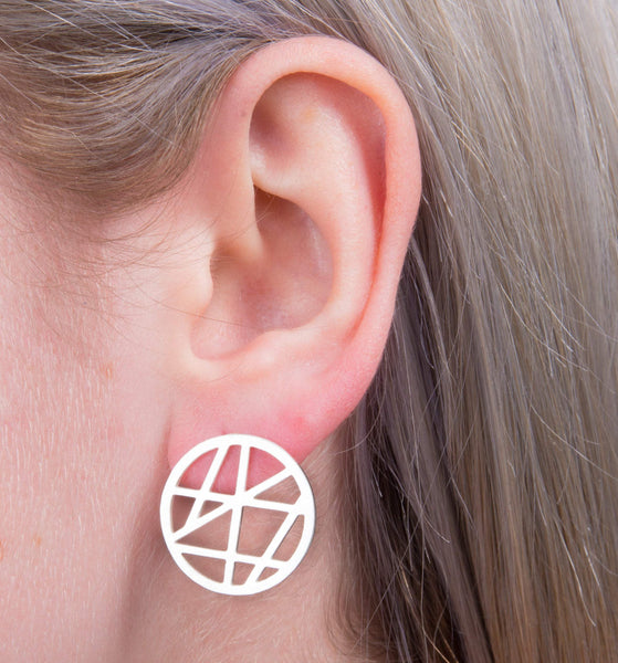 Geometric Full Moon Earrings