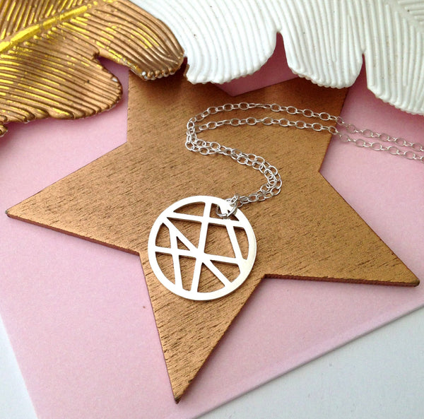 Geometric Full Moon Necklace