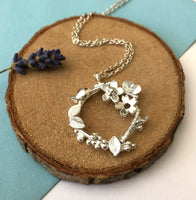 Botanical Wreath Necklace, Flower Wreath Necklace - a ring a day