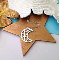 Geometric Crescent Moon Necklace - a ring a day