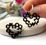 Acrylic And Silver Love Chemistry Hoop Earrings