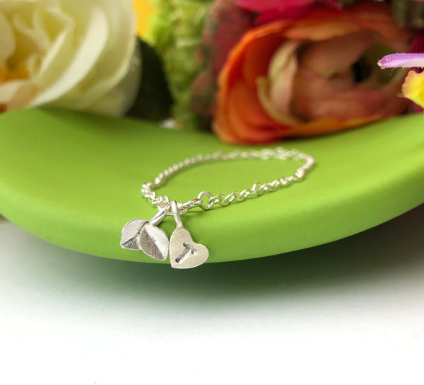 Mini Leaf Bracelet With Initial Heart