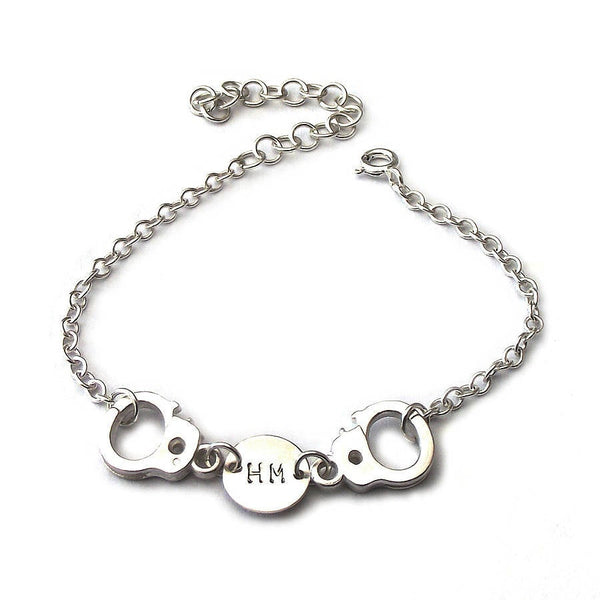 Partner In Crime Bracelet, Handcuff And Initial Bracelet