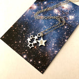 Magic star with initial star necklace