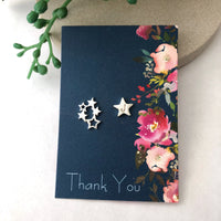 initial star earrings with gift card