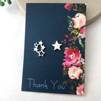 star earrings with gift card