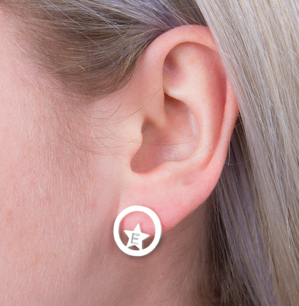 Initial Star Circle Stud Earrings - a ring a day