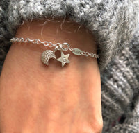 moon and initial star bracelet