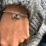 personalised moon and star bracelet