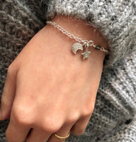 Crescent Moon And Initial Star Bracelet - a ring a day