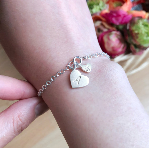 Mother And Child Initial Heart Bracelet