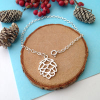Pine Cone Bracelet With Initial Acorn