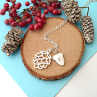 Pinecone necklace With Initial Acorn