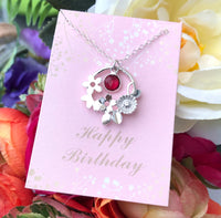 Birthstone And Flower Necklace