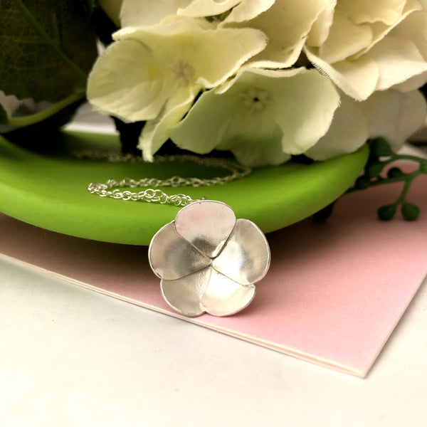 sterling silver poppy necklace