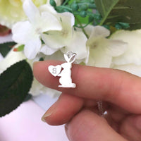 Rabbit With Initial Heart Pin Brooch - a ring a day