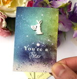 rabbit pin brooch with gift card