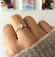 Sterling Silver Textured Heart Ring - a ring a day