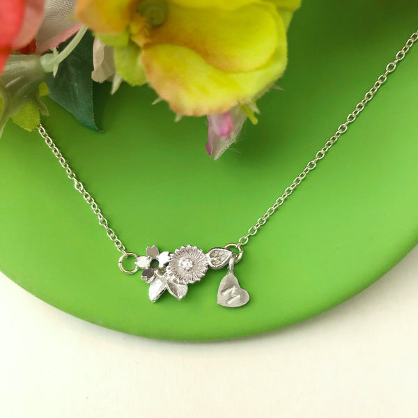 Wildflower Necklace With Initial Heart