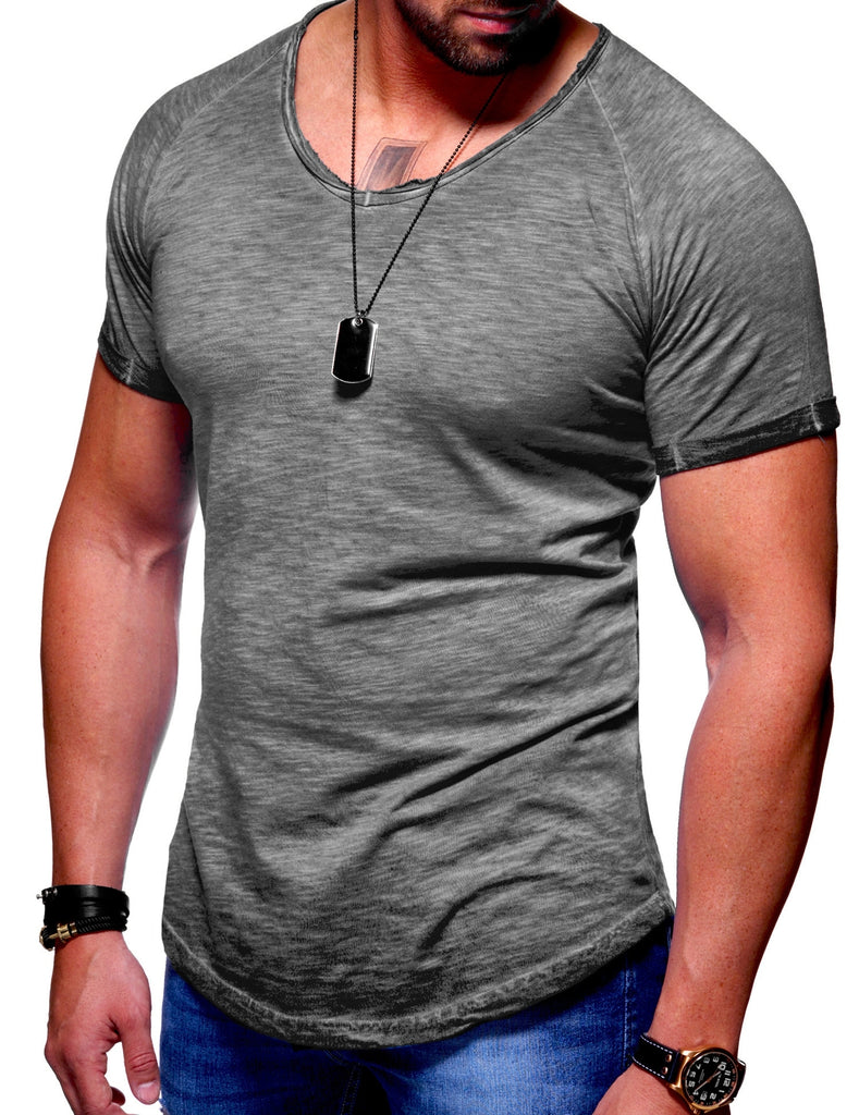 Behype. Oversize T-Shirt V-Neck Washed Dunkelgrau MT-7116