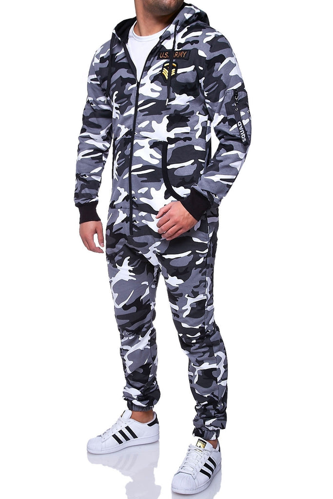 Behype. Jumpsuit ARMY Camouflage Grau R-5105