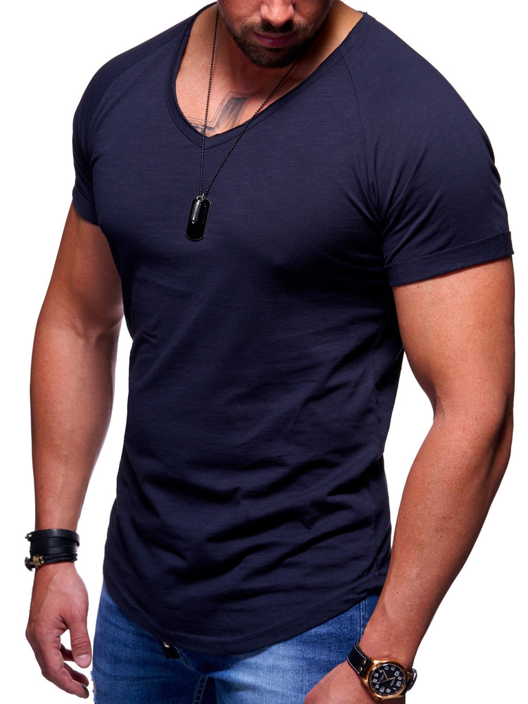 Behype. Oversize T-Shirt V-Neck Navy MT-7116