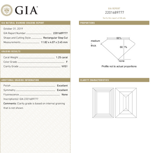 Load image into Gallery viewer, 1.25ct 11.82x4.07x2.45mm GIA VVS1 F Baguette Step Cut 18331-01