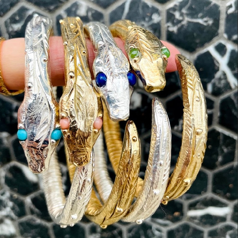 Load image into Gallery viewer, Snake Bangle - Silver + Lapis