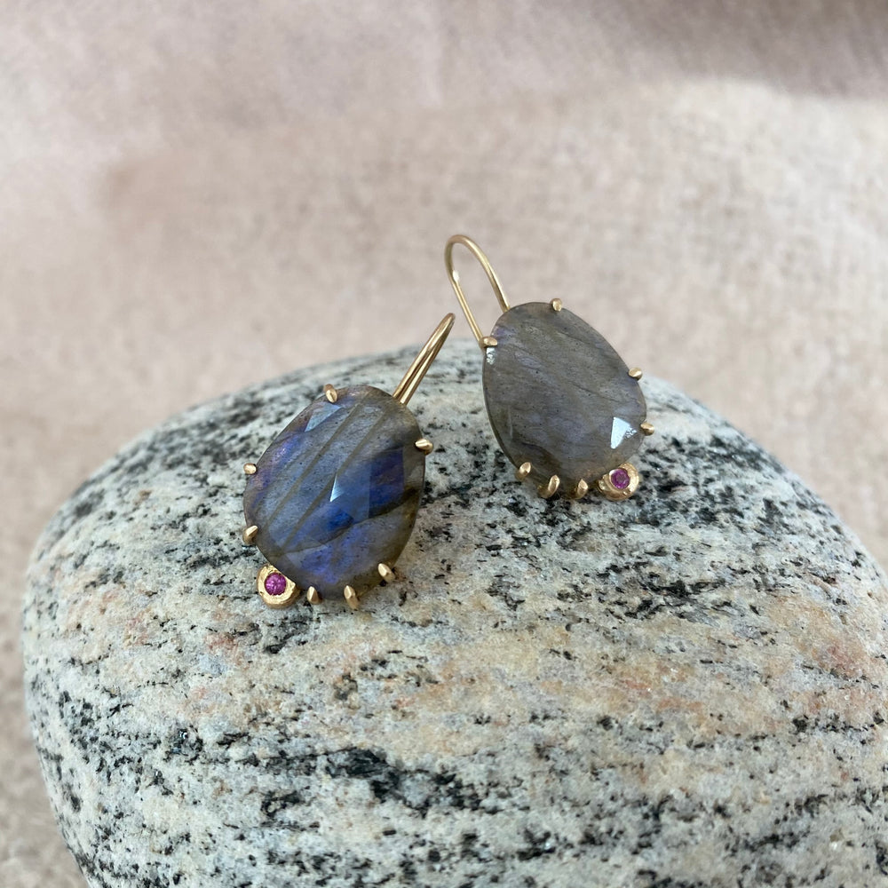 Load image into Gallery viewer, Labradorite + Pink Sapphire Drop Earrings