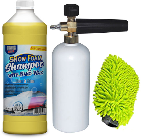 Snow Foam Shampoo with Nano Wax high gloss Kit with foam Sprayer & sponge