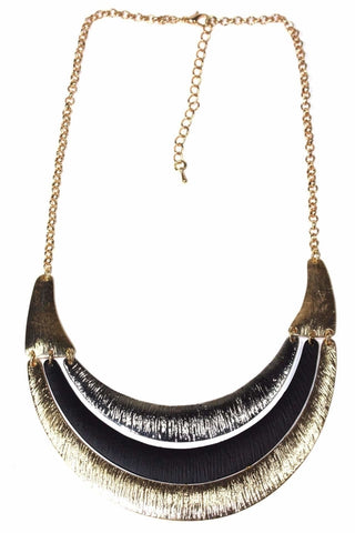 Crescent Moon Three Tier Necklace
