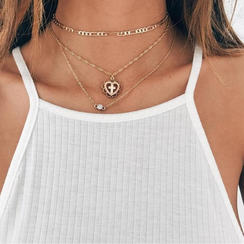Double Chain Moon & Cross Necklace