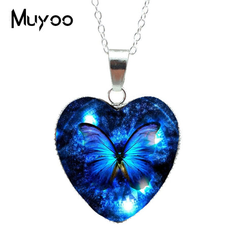2019 Hot Purple Magic Butterfly Heart Jewelry Necklace Beautiful and Mysterious Butterfly Pendant Heart Necklace Jewerly HZ3