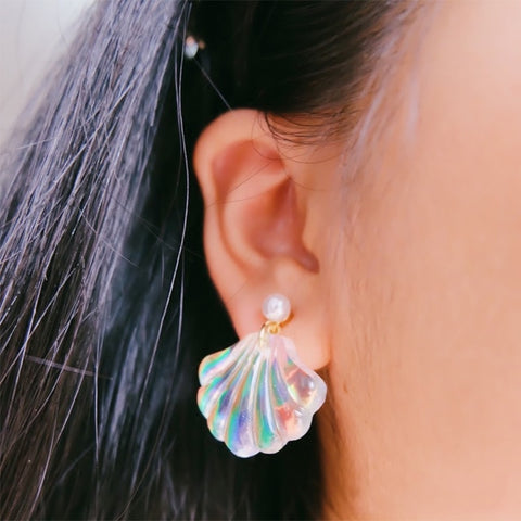 LNRRABC  new Exquisite 1Pair Allergy Free Unique Romantic Resin Colorful Mermaid Rainbow Pearl Shell Earrings High Quality