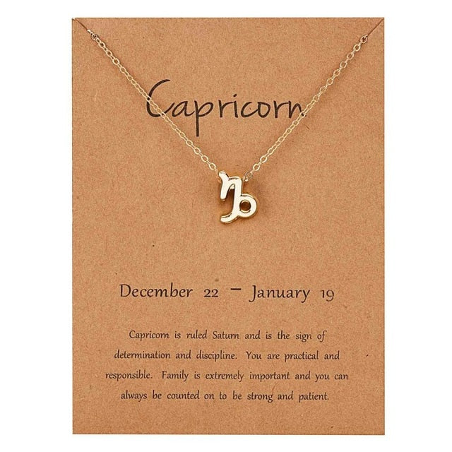 Rinhoo 12 Constellation Necklace Zodiac Sign necklace with Card Pendant Necklace charm Message Card Birthday Gift for Women Girl