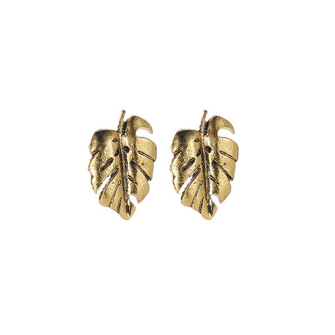 Gold Silver Color Metal Hollow Palm Leaves Monstera Leaf Stud Earrings For Women Geometric Earring Jewelry Accessories