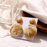 Geometric Wooden Straw Weave Women Beach Bohemian Circle Holiday Dangle Summer Drop Earrings Square Rattan Jewelry Earrings