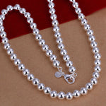 Silver color exquisite noble luxury gorgeous charm fashion 8MM chain women lady beads necklace 20 inches Silver jewelry ,N111